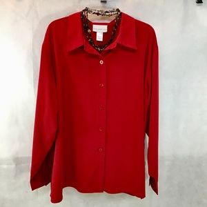 Susan Graver Style 🔥HOT RED🔥 Button Down Blouse
